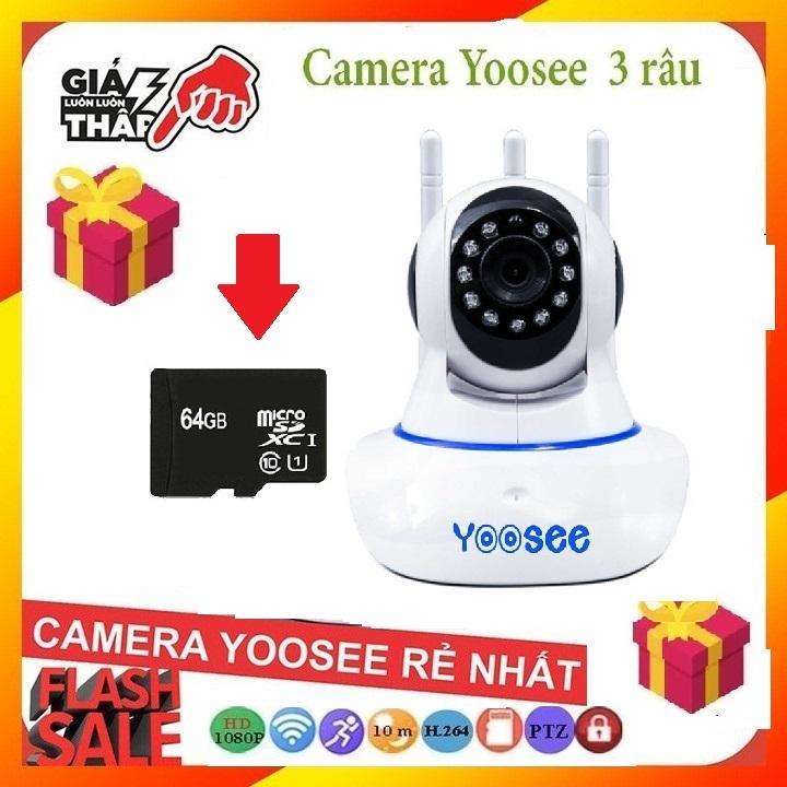 (BH 24 tháng-TẶNG THẺ NHỚ YOOSEE 64GB),Camera wifi yoosee 3 râu,full HD 1080,đàm thoại song phương,lưu trữ video,ghi âm giọng nói