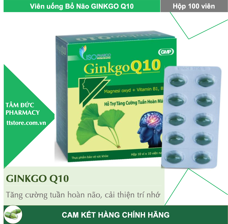 GINKGO Q10 [Hộp 100 viên] - Viên uống tăng cường trí nhớ, cải thiện mất ngủ [ginko q10 / ginkgo biloba]