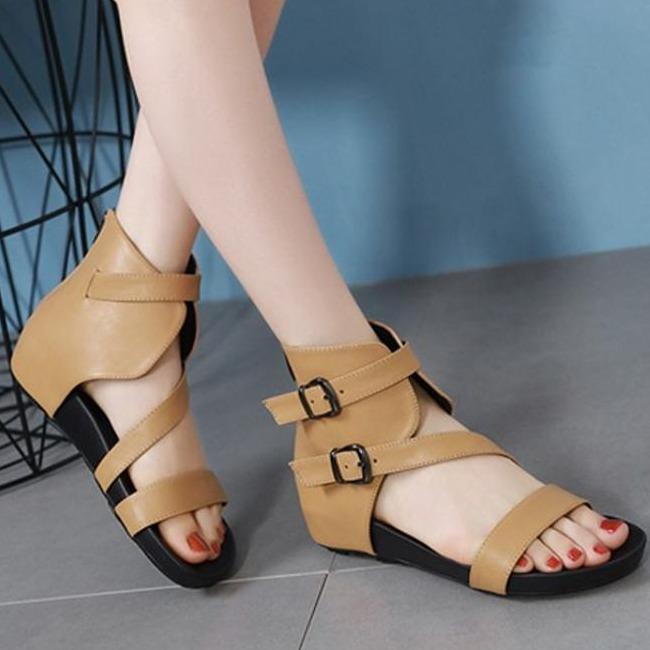Hình ảnh ( Bảo hành 12 tháng ) Giày sandal nữ cổ cao quai ngang phối khóa vuông thời trang - Giày đế xuồng nữ 3cm - Giày nữ da mềm 2 màu Đen và Kem - Linus LN165