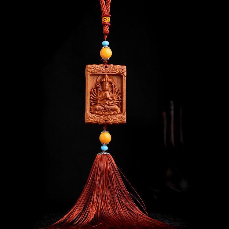 Hình ảnh Dây Đeo, Móc Khóa Gỗ Trang Trí Xe Ô tô, Balo, Túi Xách Khắc Thủ Công Hình Phật Nghìn Tay