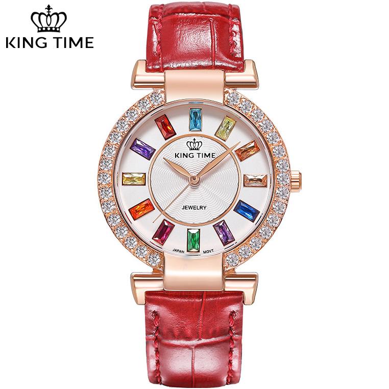 Đồng hồ nữ KING TIME Đính Đá Ruby Cầu Vòng, Mặt to nổi bật, Chống nước sinh hoạt 3