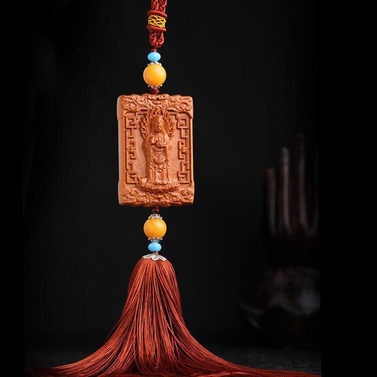 Hình ảnh Dây Đeo, Móc Khóa Gỗ Trang Trí Xe Ô tô, Balo, Túi Xách Khắc Thủ Công Hình Phật Bà Quan Âm Đứng