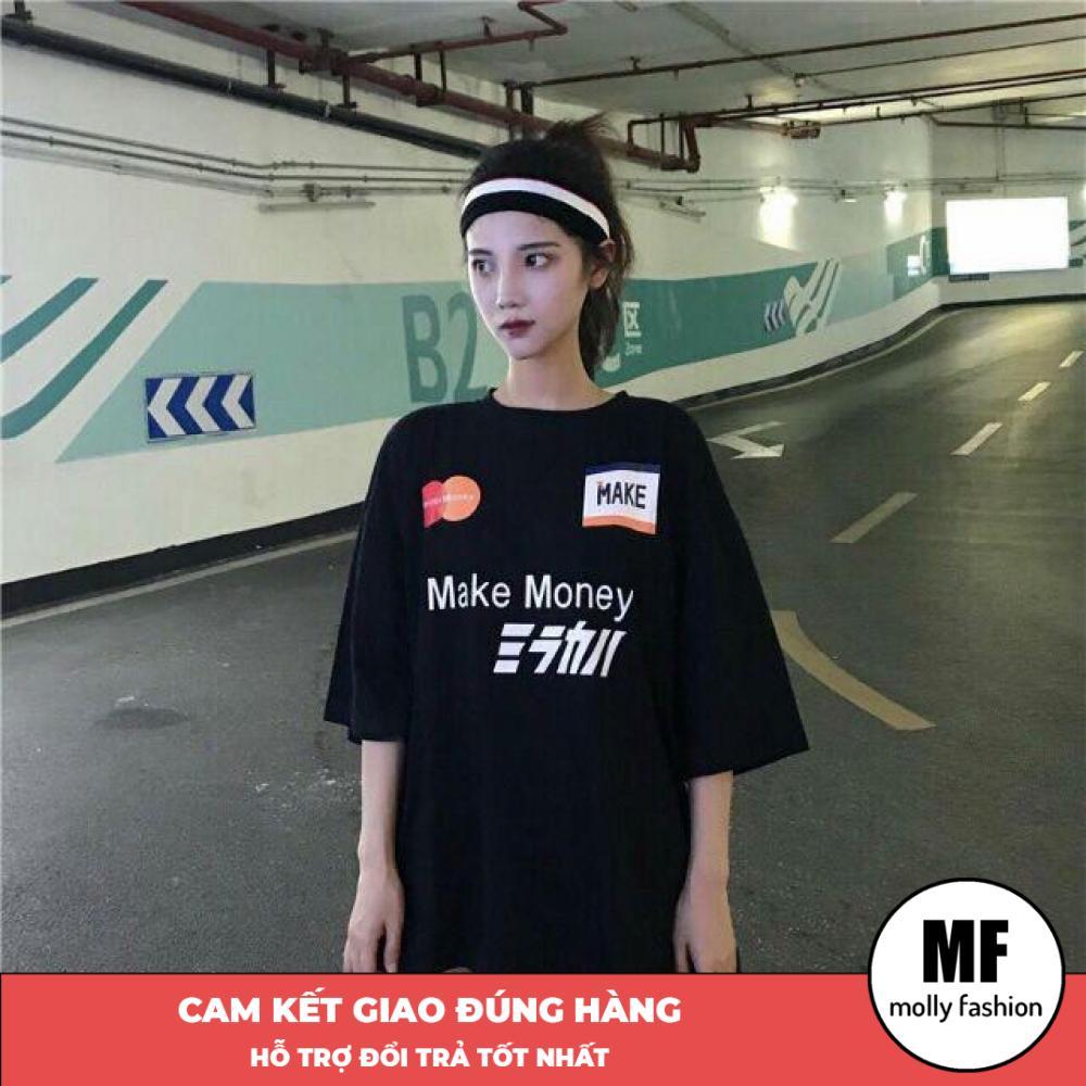 Áo phông, áo thun nam nữ form rộng tay lỡ Giấu Quần MAKE Freesize 70kg Molly Fashion ML126