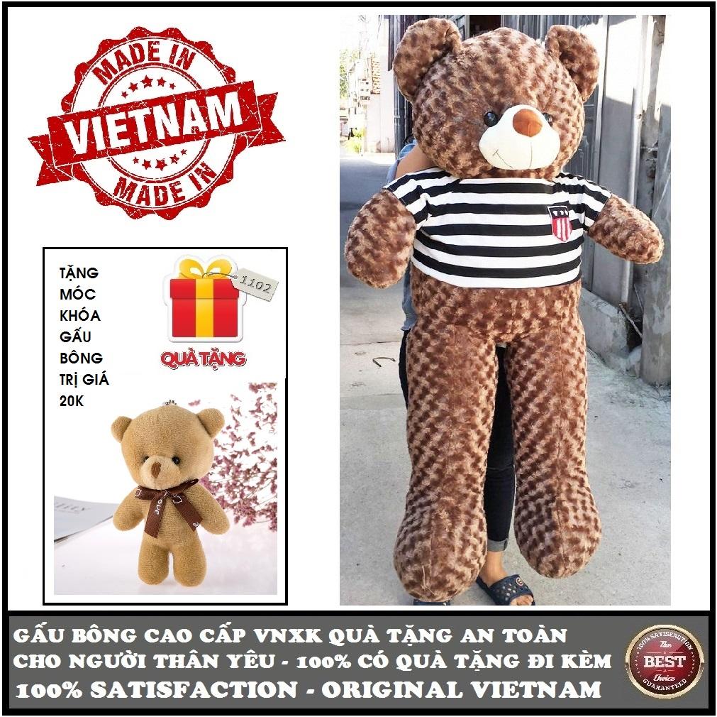 Hình ảnh Gấu bông Teddy cao cấp loại size 1,4m khổ vải (gấu cao 1,2m) Màu nâu xám khói VNXK, quà tặng an toàn cho trẻ và người thân