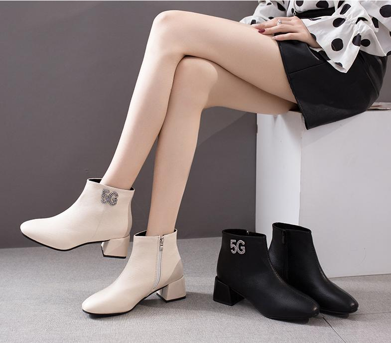 Giày boot nữ chun cổ thấp 2018 đế 5cm, boot da đế 5p, bốt cổ thấp mv-409
