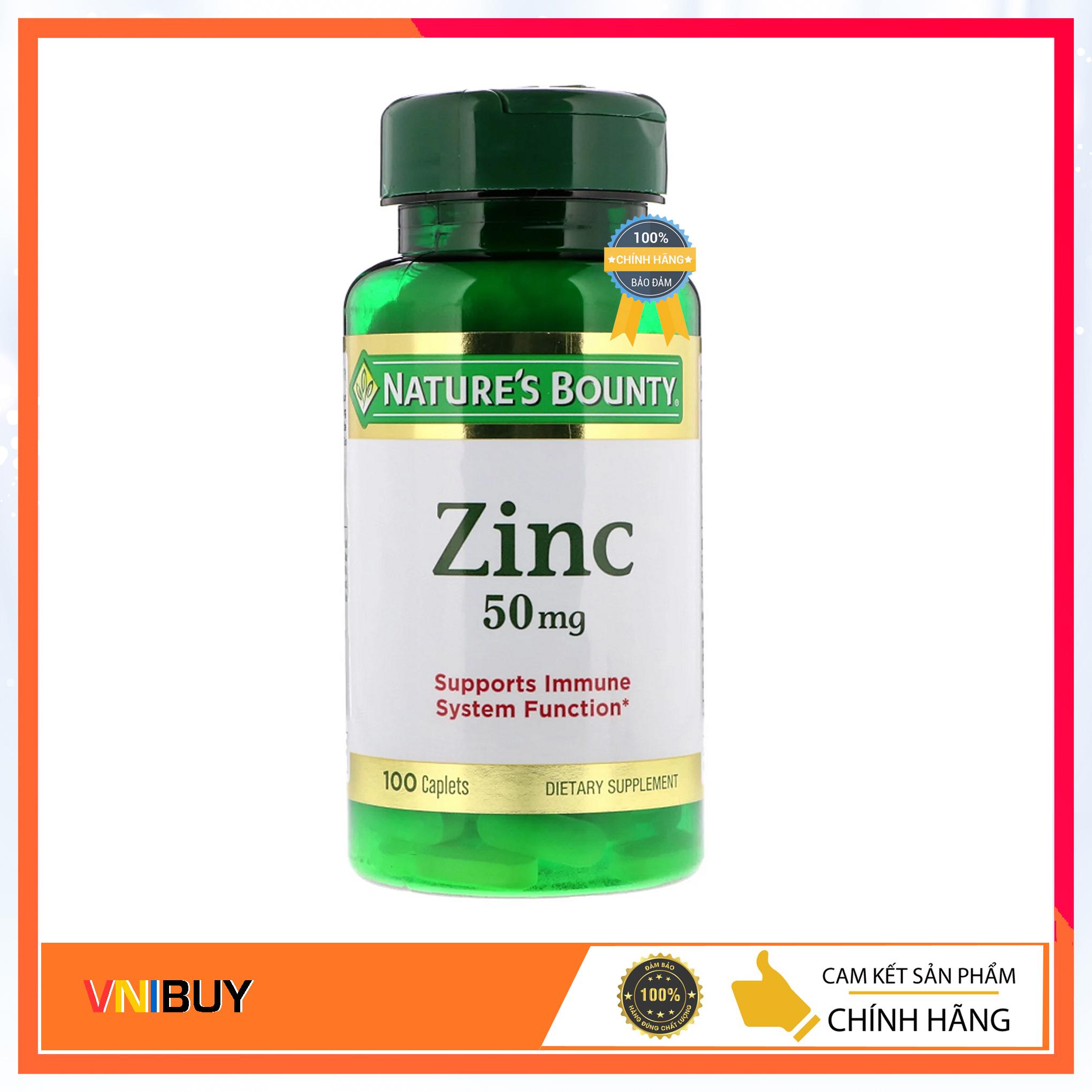 Viên uống bổ sung kẽm Nature's Bounty Zinc 50mg 100 viên của Mỹ - VNIBUY