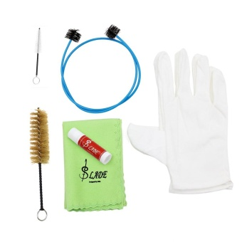 Brasswind Instrument Trumpet Trombone Tuba Horn Cleaning Set KitTool with Cleaning Cloth Brush Cork Grease Gloves ^ - intl