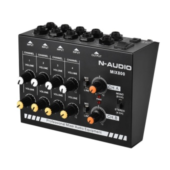 Compact Size 8-Channels Mono/Stereo Audio Sound Line Mixer with Power Adapter - intl