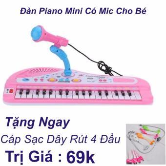 Đàn Piano Mini Có Míc Cho Bé Chất Lượng Âm Thanh Hay Loại Mới 2017+ Cáp Sạc Dây Rút 4 Đầu Trị Giá 69k