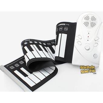 Piano phím mềm 49 keys có chức năng ghi âm, phát lại (Đen phối trắng)