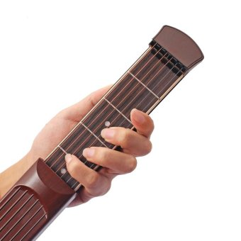 ammoon Portable Pocket Acoustic Guitar Practice Tool Gadget Chord Trainer 6 String 6 Fret Model Rosewood Fretboard Wood Grain for Beginner Learner - intl
