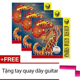 Bộ 3 hộp 6 dây đàn guitar acoustic A406 + Tặng tay quay dây guitar