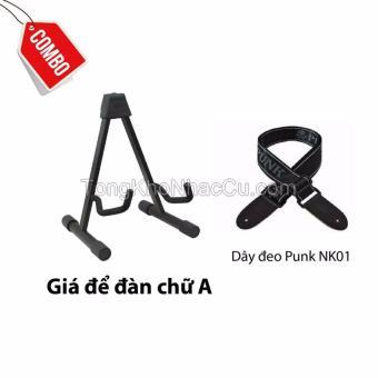 Combo Giá để đàn chữ A+ dây đeo Punk NK01