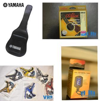 Bộ 04 phụ kiện Guitar: Bao da 3 lớp Yamaha + Máy lên dây ET-33 + Capo Guitar + Dây Alice AW432