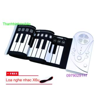 Đàn piano điện tử bàn phím cuộn dẻo 49 keys + Loa X6u (Trắng)