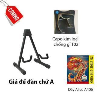 Combo Giá đàn chữ A+ Capo T02+ Bộ dây Acoustic A406