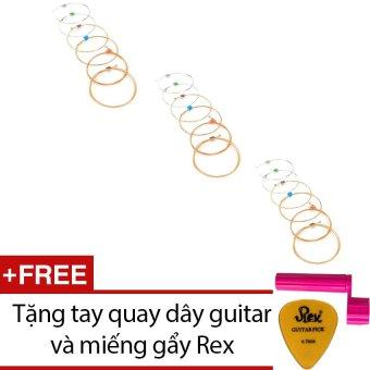 Bộ 3 hộp 6 dây đàn Acoustic Fender 60XL + Tặng tay quay dây guitar và 1 miếng gẩy Rex