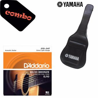 Bao da Guitar Yamaha 3 lớp + Dây đàn Acoustic D'Addario EJ10 (Mỹ)