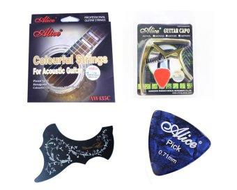Bộ dây guitar màu Alice AW435 + Capo Alice A007D/BK + Miếng dán chống xước hoa van + Phím gảy