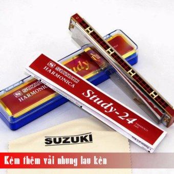 Kèn Harmonica Tremolo Suzuki Study 24 key C (Bạc) - Kèm thêm vải nhung lau kèn