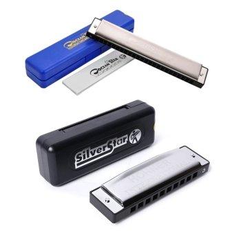 Bộ 2 kèn harmonica key C: Tremolo Harmonica Ocean Star M254001 và Silver Star M50401