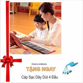 Đàn piano điện tử bàn phím cuộn dẻo 49 keys (Trắng) Hàng Nhập Khẩu Tặng Cáp Sạc 4 Đầu