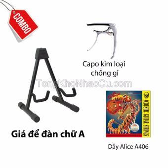Combo Giá để đàn chữ A+ Capo NK T01+ Dây Alice A406