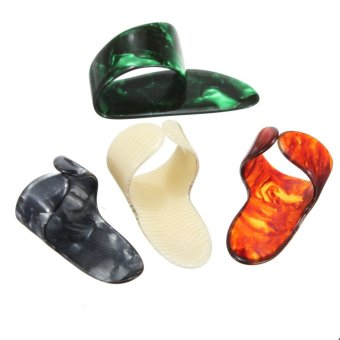 Plastic 1 Thumb And 3 Finger Nail Guitar Picks Plectrums Set - Intl