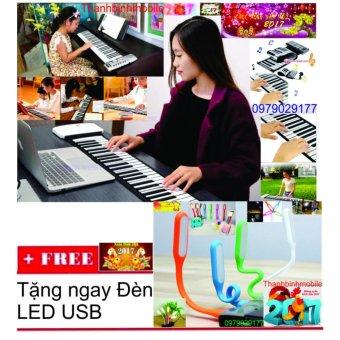 Đàn piano điện tử bàn phím cuộn dẻo 49 keys + Đén Led usb