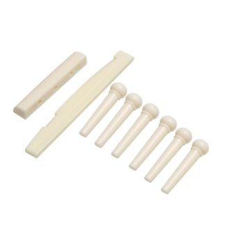 6-String Guitar Bridge Pins Saddle Nut Acoustic Cattle (White) (Intl:)