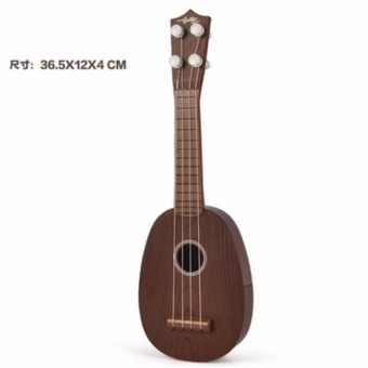 Kid Guitar 4 Strings Ukulele Musical Instrument (Original Brown) +Free Bag - intl