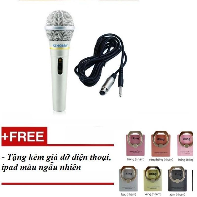 Micro có dây hát Karaoke XINGMA AK-319  tặng kèm giá đỡ điện thoại, ipad- màu bạc