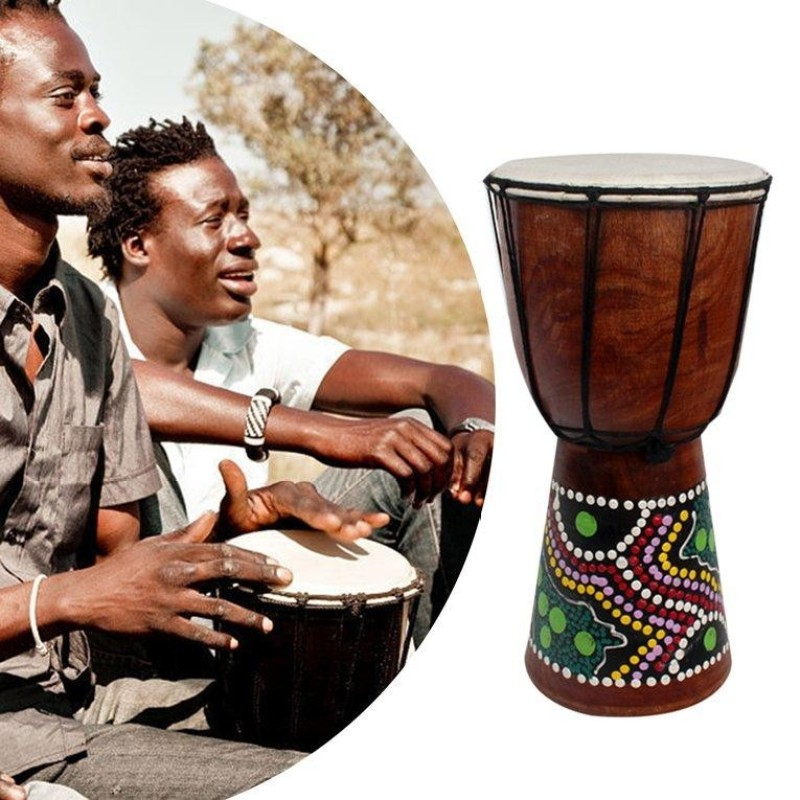 USTORE 4 Inch African Djembe Percussion Mahogany Hand Drum with Goat Skin Surface - intl