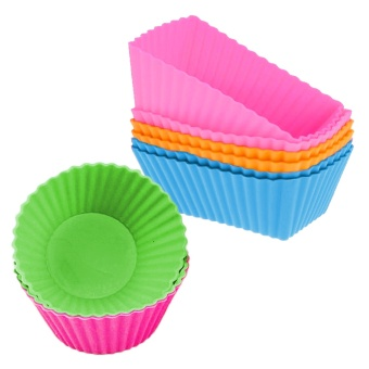 12PCS Silicone Cupcake Baking Muffin Cups Liners Molds Sets CookieChocolate Jelly Candy Fondant DIY Decorating Tools - intl
