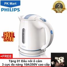 Ấm siêu tốc Philips HD4646 1.5L (Trắng) - Hàng nhập khẩu + Tặng 01 Đầu nối ổ cắm 3 cực đa năng 10A/250V