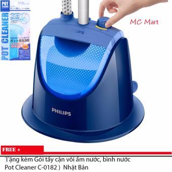 Bàn ủi hơi nước đứng Philips GC499 (Xanh) - Hàng nhập khẩu (Tặng kèm Gói tẩy cặn vôi ấm nước, bình nước Pot Cleaner C-0182 )