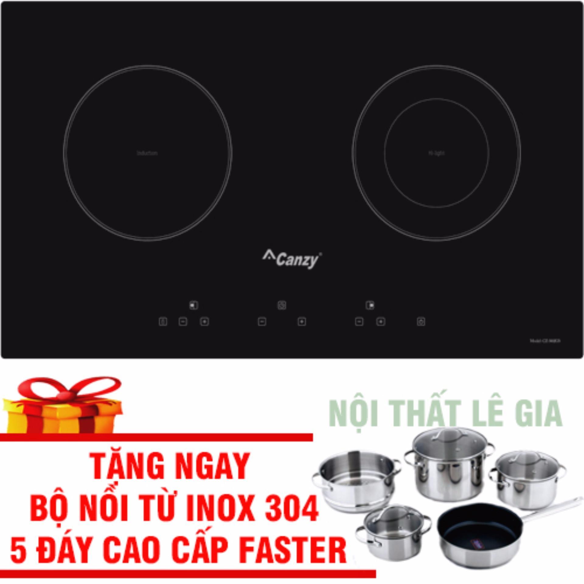 Bếp Điện Từ Canzy CZ 3002GS Tặng Bộ Nồi Từ Faster Inox 304 Cao Cấp