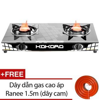 Bếp gas hồng ngoại Kokoro KR HNL 2 (Đen) + Tặng dây dẫn gas cao áp Ranee 1.5m (Cam)