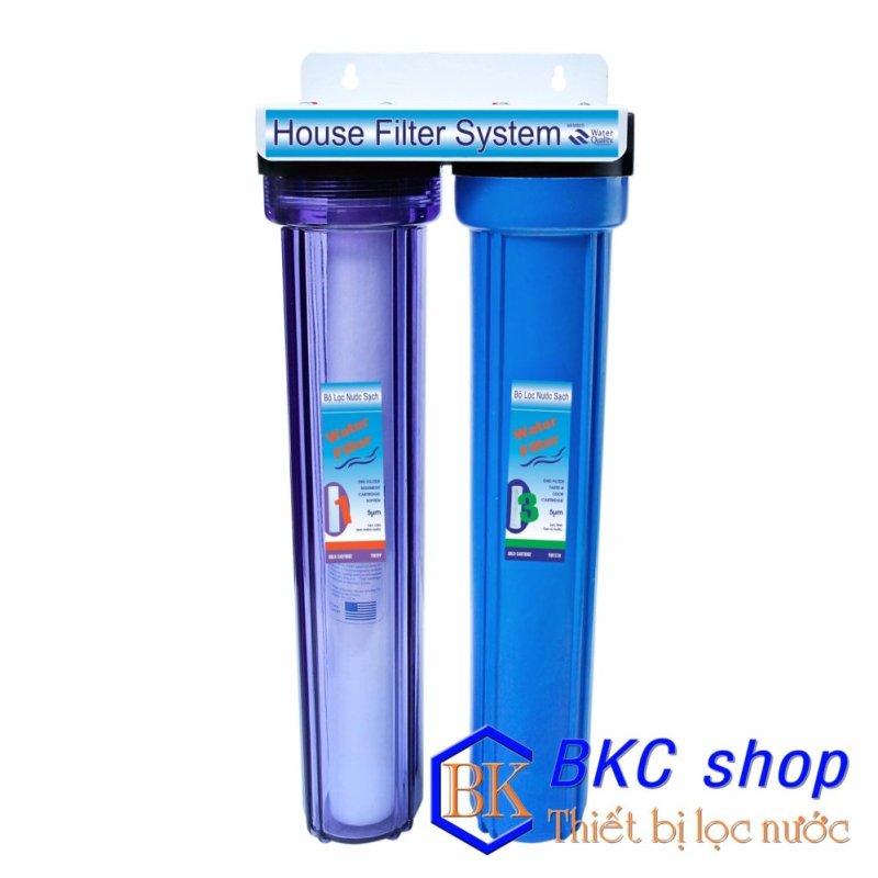Bộ lọc nước sinh hoạt 2 cấp lọc 20 inch (PP + CTO) (xanh trong - xanh)