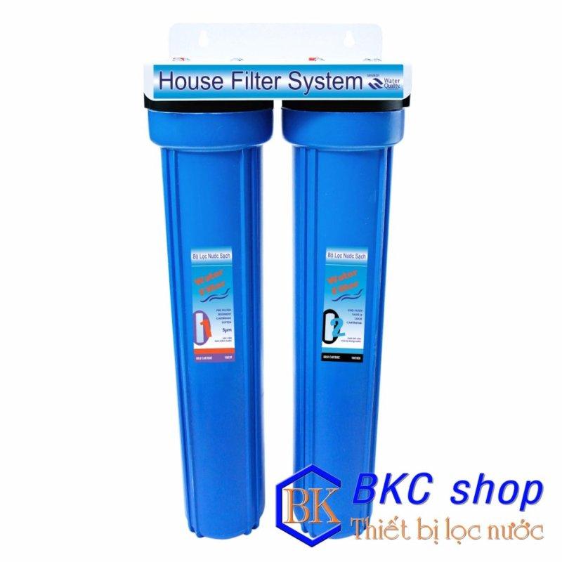 Bộ lọc nước sinh hoạt 2 cấp lọc 20 inch (PP+GAC) xanh