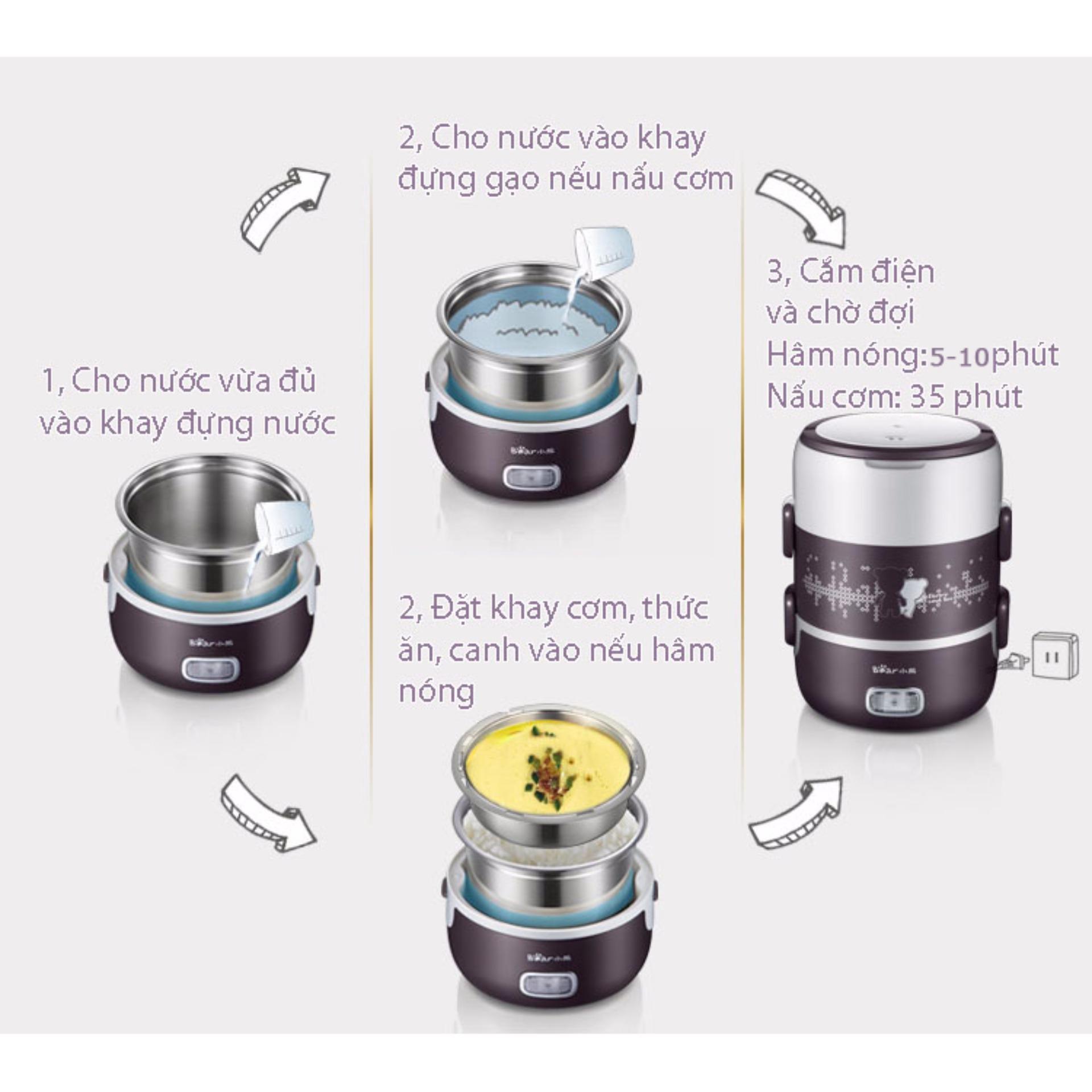 Hộp cơm cắm điện 3 ngăn hút chân không Bear DFH - S2123 (Nâu) +Tặng bộ thìa đũa inox 304