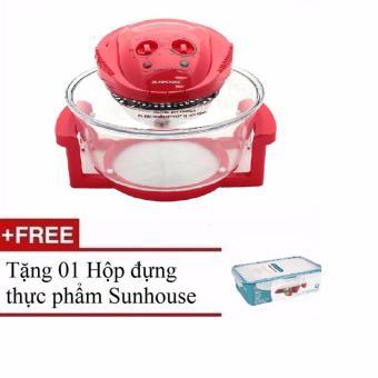 Lò nướng thuỷ tinh Sunhouse SH416 12L (Đỏ) + Tặng 01 Hộp đựng thực phẩm Sunhouse