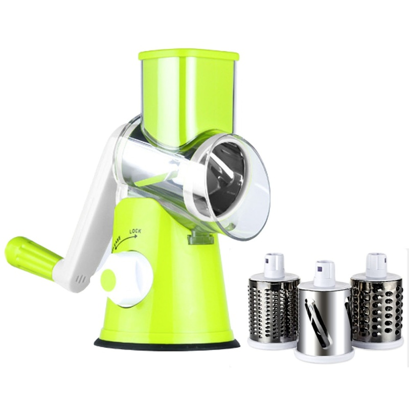 Manual Hand Speedy Mandoline Slicer With 3 Round Stainless Steel Blades For Fruit Vegetable Carrot Slicer Cutter Potato Julienne Cheese Grater Kitchen Tool Green - intl