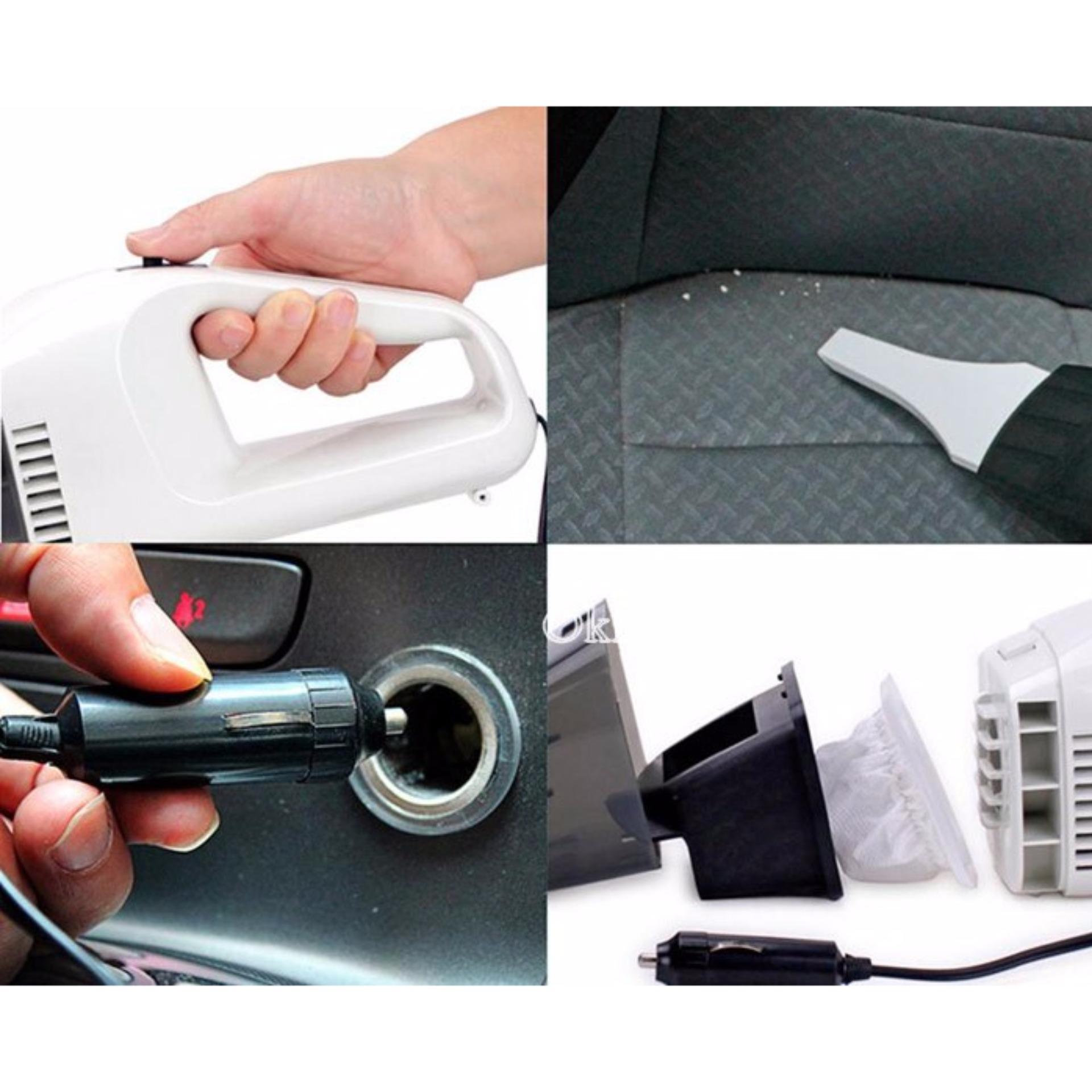 Máy hút bụi xe ô tô cầm tay Poptable + Tặng móc khoá huýt sao(Trắng phối đen)