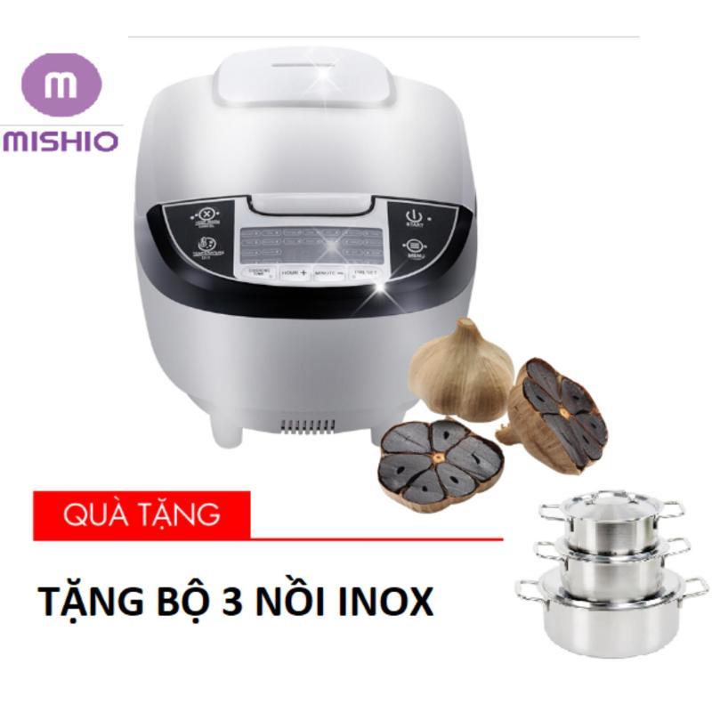 Máy làm tỏi đen ceramic Mishio (Trắng) - Tặng bộ 3 nồi inox