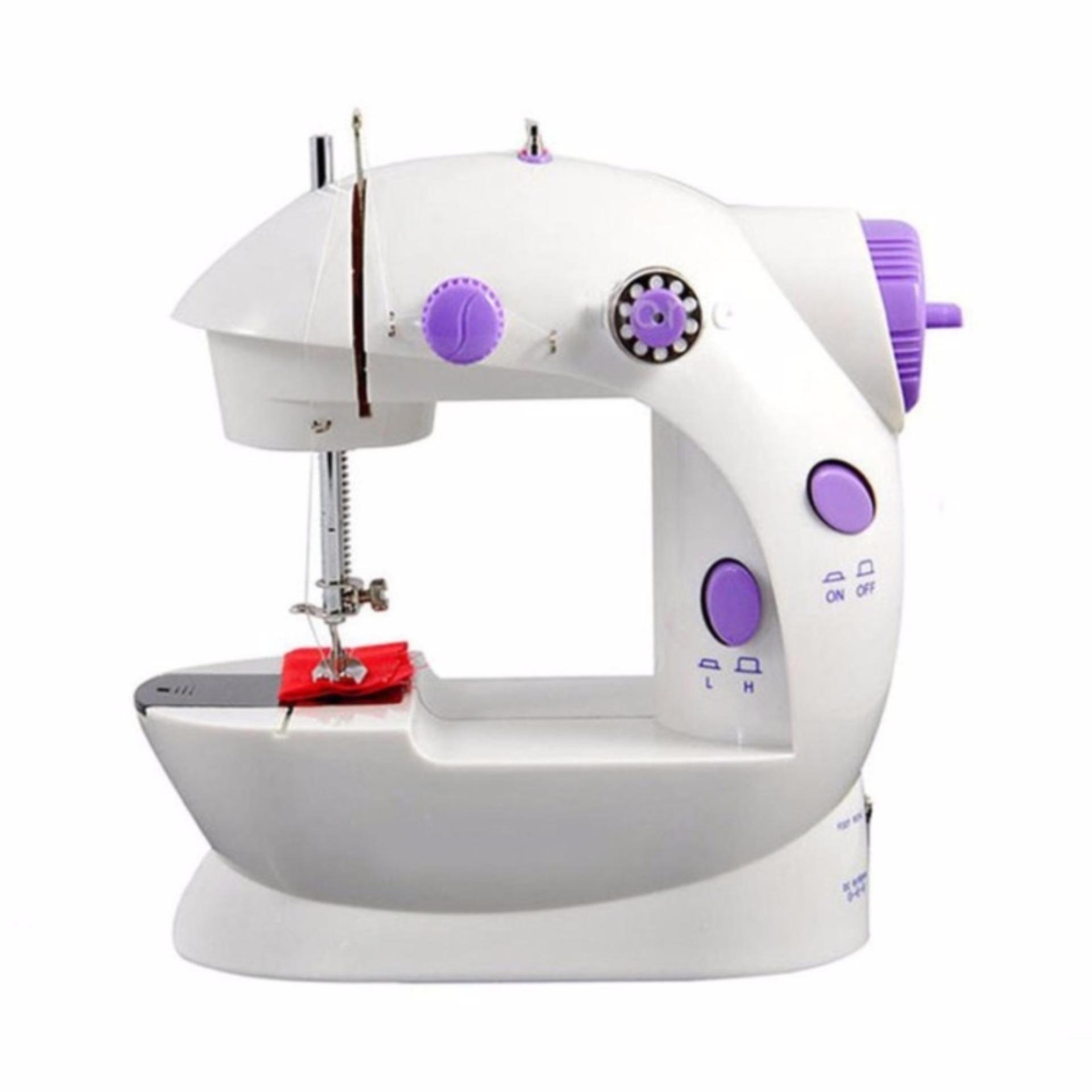 Máy may gia đình mini sewing machine MD-L (Trắng phối tím)