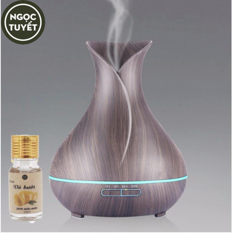 Bảng giá Máy phun sương tinh dầu bình hoa đen chứa 400ml tạo ẩm, thơm phòng tặng 10ml tinh dầu vỏ bưởi ngọc tuyết