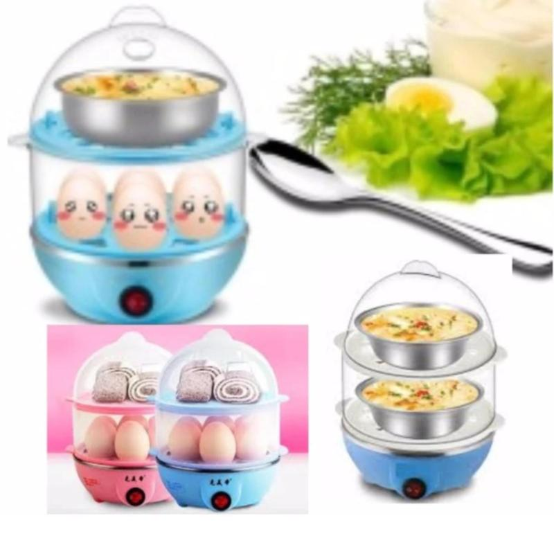 Nồi luộc trứng và hấp thức ăn 2 tầng đa năng (Hồng)+ Tặng đèn led siêu sáng