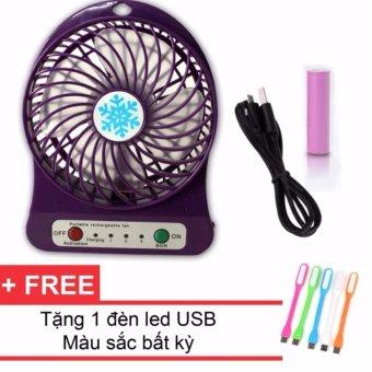 Quạt Sạc Tích Điện USB Mini Fan (Tím) + Tặng 1 Đèn Led USB