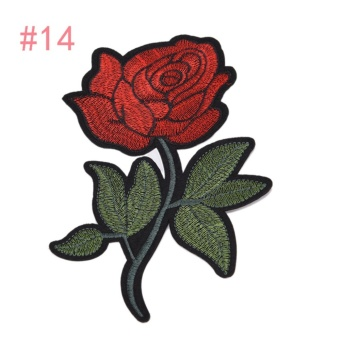 Rose Embroidered Sewing On Patch Flower Stickers For Clothes Applique #14: 12x18.8cm - intl